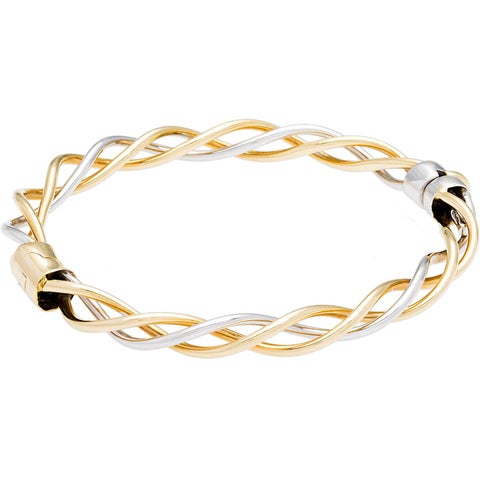 14k Two-tone Gold Triple Wire Helix Cable Estate Bangle