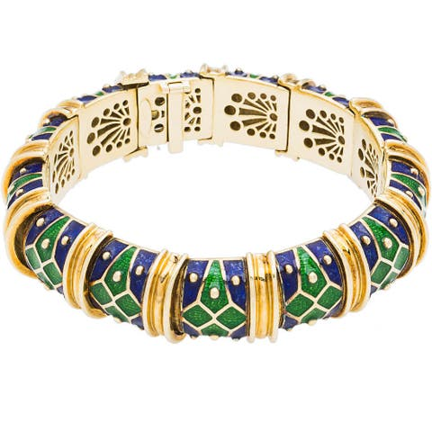18k Yellow Gold Heavy Link Multi-color Enamel Estate Bracelet