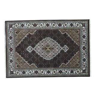 Black Tabriz Mahi Wool and Silk Hand-Knotted Oriental Rug (4' x 6')