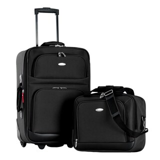 Olympia Let's Travel Black 2-piece Expandable Carry-on Luggage Set