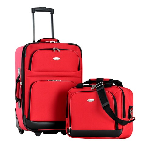 Olympia Let's Travel Red 2-piece Expandable Carry-on Luggage Set