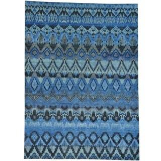 Hand-Knotted Ikat Uzbek Design Oriental Rug (9'10 x 13'7)