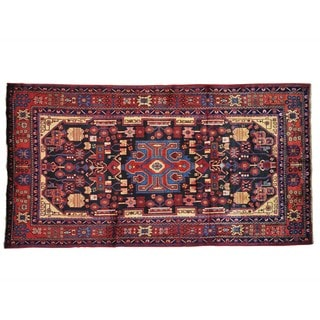 Navy Blue Persian Nahavand Hand-Knotted Oriental Rug (5'2 x 9'8)