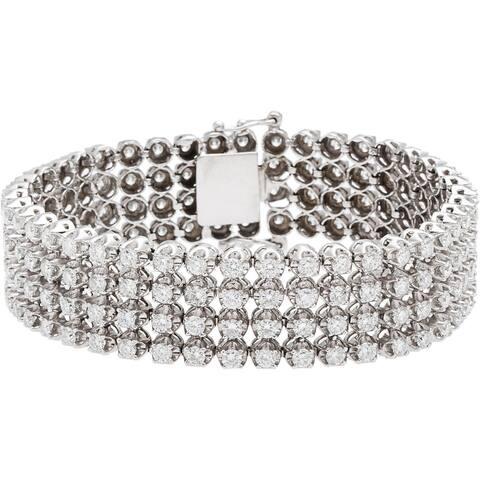 14k White Gold 19ct TDW Multi-Strand Diamond XL Estate Bracelet.
