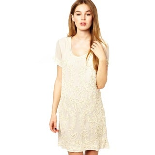 French Connection Nanette Ivory Beaded Cotton Short Sleeve Tunic Dress