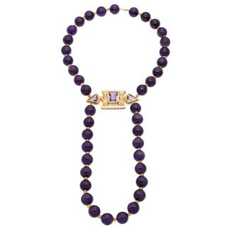 18k Yellow Gold 1/4ct TDW Giant Heavy Amethyst Bead Estate Necklace
