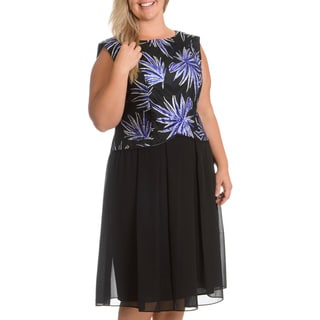 Le Bos Women's Plus Size Sequin Bodice Dress