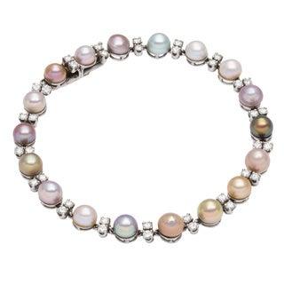 Platinum 1 1/5ct TDW South Sea Pearl Link Estate Bracelet (H-I, VS1-VS2)