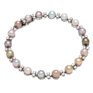 Platinum 1 1/5ct TDW South Sea Pearl Link Estate Bracelet (H-I, VS1-VS2)