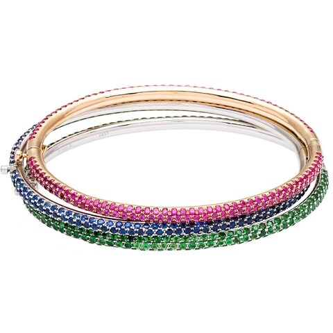 18k Two-tone Gold Pave Gemstone Stacked Estate Bangles (Set of 3)