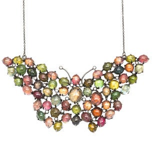 14k Black Gold 1 3/4ct TDW Multi-colored Tourmaline Giant Butterfly Estate Necklace (H-I, I1-I2)