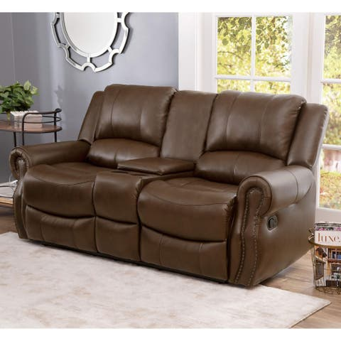 Abbyson Calabasas Mesa Brown Leather Reclining Console Loveseat