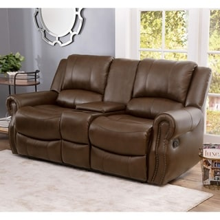 Abbyson Calabasas Mesa Camel Leather Reclining Console Loveseat