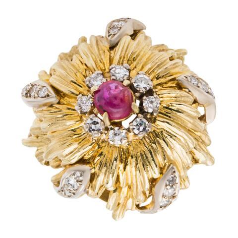 18k Yellow Gold 1/2ct TDW Ruby Starburst Dome Estate Ring