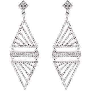 14k White Gold 2ct TDW Pave Diamond Dangling Estate Earrings (G-H, SI1-SI2)