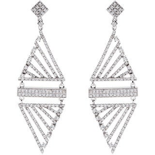 14k White Gold 2ct TDW Pave Diamond Dangling Estate Earrings (G-H, SI1-SI2)