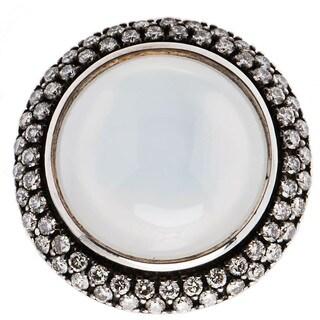 David Yurman Sterling Silver Cerise Moonstone 1ct TDW Diamond Estate Ring (H-I, SI1-SI2) (Size 5.75)
