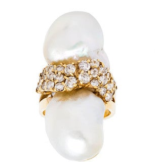 18k Yellow Gold 1 1/2ct TDW Large Pearl Swab Estate Ring (I-J, SI1-SI2) (Size 6.75)