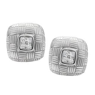 Platinum and 18k White Gold 1/4ct TDW Diamond Weave Style Estate Earrings (G-H, VS1-VS2)