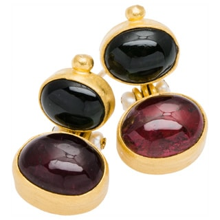 24k Yellow Gold Multi-colored Tourmaline Estate Earrings (2-3mm)
