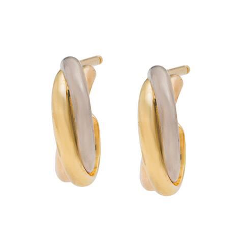 18k Three-tone Gold Trinity de Cartier Estate Earrings