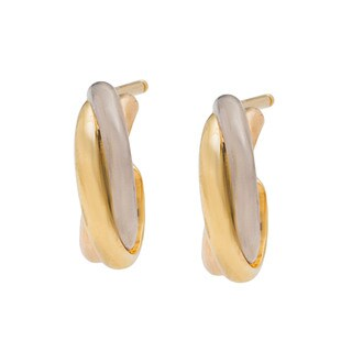 18k Three-tone Gold Trinity de Cartier Estate Earrings