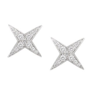 18k White Gold 1/3ct TDW Diamond Star String Estate Stud Earrings by Mauboussin (G-H, VS1-VS2)