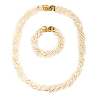 14k Yellow Gold 2/5ct TDW Bushel Clasp Pearl 10-strand Estate Necklace and Bracelet Set (H-I, SI1-SI2)