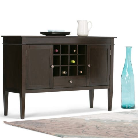 WYNDENHALL Sterling SOLID WOOD 54 inch Wide Transitional Sideboard Buffet Credenza and Wine Rack in Dark Tobacco Brown