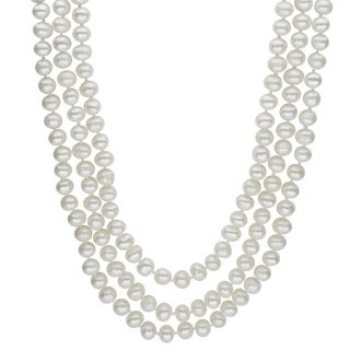 Pearls For You 64-inch Endless White Freshwater Pearl Necklace (6-7 mm)