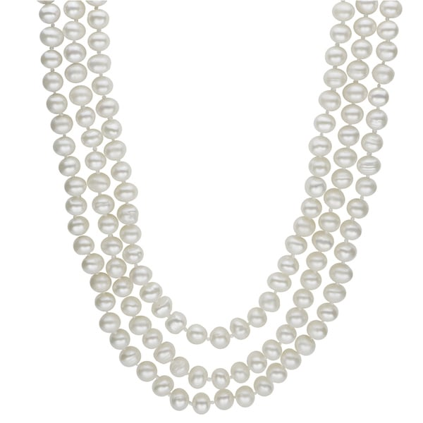 3368ffeaec79 Shop Pearls For You 64-inch Endless White Freshwater Pearl Necklace ...