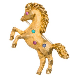 18k Yellow Gold Multi-gemstone Florentined Estate Horse Pin