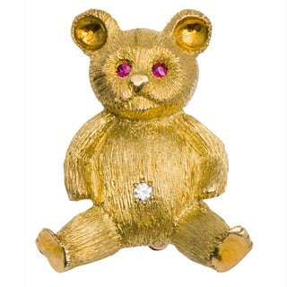 18k Yellow Gold 1/10ct TDW Diamond Estate Teddy Bear Pin (G-H, VS1-VS2)