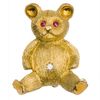 18k Yellow Gold 1/10ct TDW Diamond Estate Teddy Bear Pin (G-H, VS1-VS2)