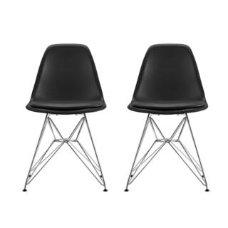 DHP Mid Century Modern Molded Black Chair with Upholstered Seat (Set of 2)