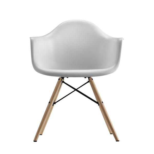 DHP Mid Century Modern Molded White Arm Chair with Wood Leg