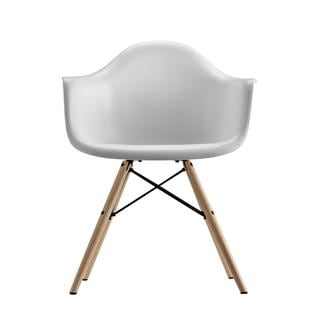 DHP White Eames Replica Molded Chair with Wood Legs