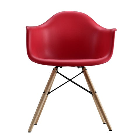 DHP Mid Century Modern Molded Arm Red Chair with Wood Leg