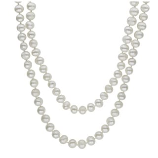 Sterling Silver White Freshwater Pearl 36-inch Strand Necklace (6-7 mm)