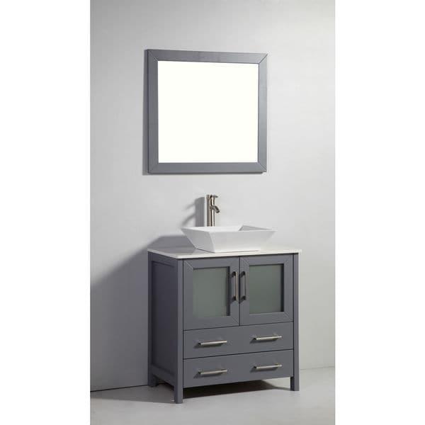 Shop 30 inch dark grey solid wood sink vanity with mirror for Gray 30 inch bathroom vanity