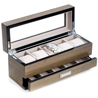 Link to Grey Finish Wood with Accessory Drawer Bey Berk Watch and Cufflink Box 5 Watch Case Similar Items in Watch Accessories