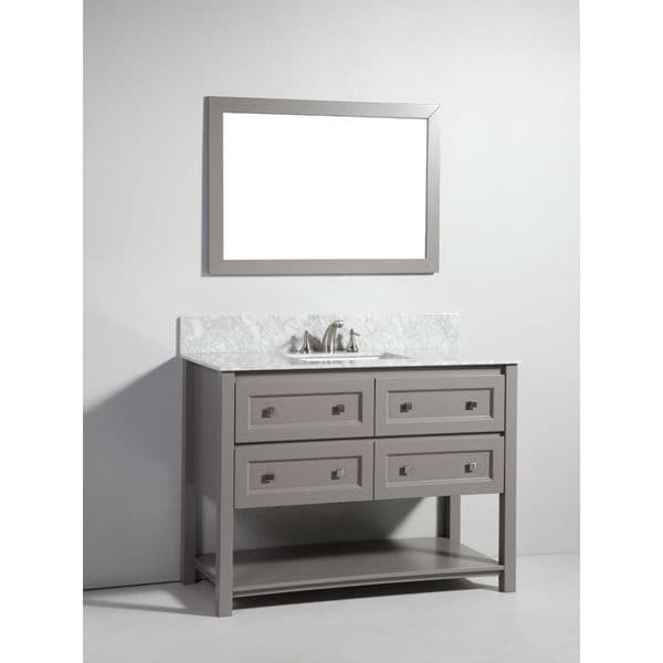 Legion furniture 48 inch light grey solid wood sink vanity with mirror free shipping today for 48 inch bathroom vanity light