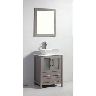 Legion Furniture 24-inch Light Grey Solid Wood Sink Vanity with Mirror