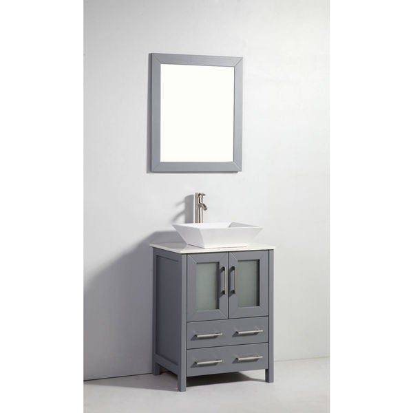 Shop 24 Inch Dark Grey Solid Wood Sink Vanity With Mirror