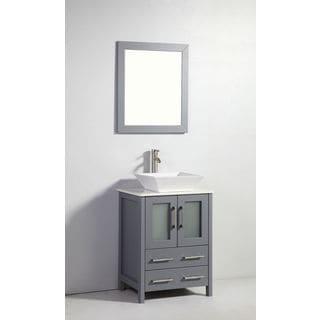 24-inch Dark Grey Solid Wood Sink Vanity with Mirror
