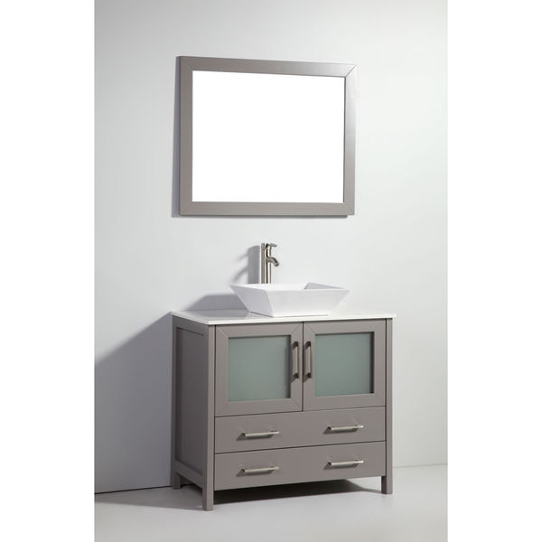 36 Inch Light Grey Solid Wood Sink Vanity With Mirror Free Shipping Today