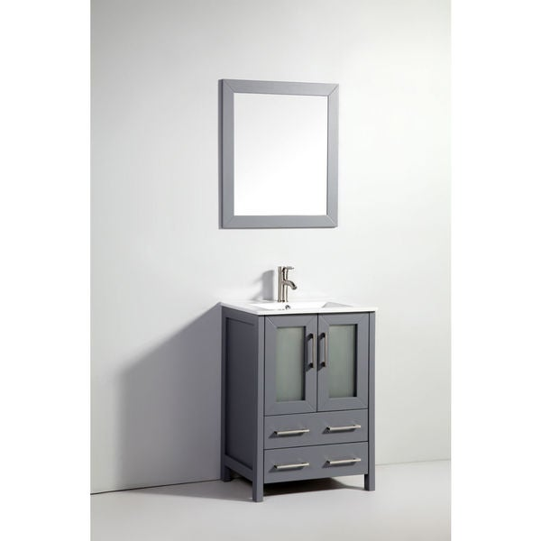 Shop 24 inch dark grey double door solid wood sink vanity with mirror free shipping today for Solid wood double sink bathroom vanity
