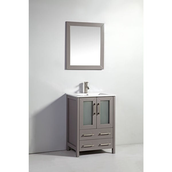 24 inch light grey double door solid wood sink vanity with mirror free shipping today for Bathroom vanity with mirror doors