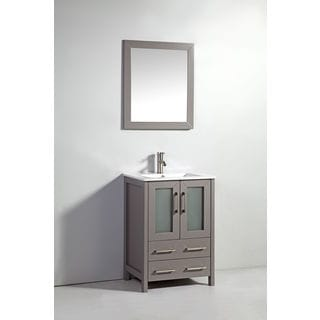 24-inch Light Grey Double Door Solid Wood Sink Vanity with Mirror