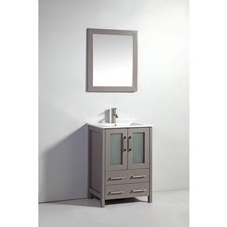 24-inch Light Grey Double Door Solid Wood Sink Vanity with Mirror